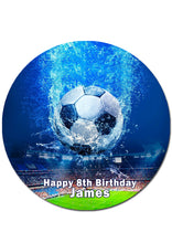 Soccer Themed Round Edible Cake Topper