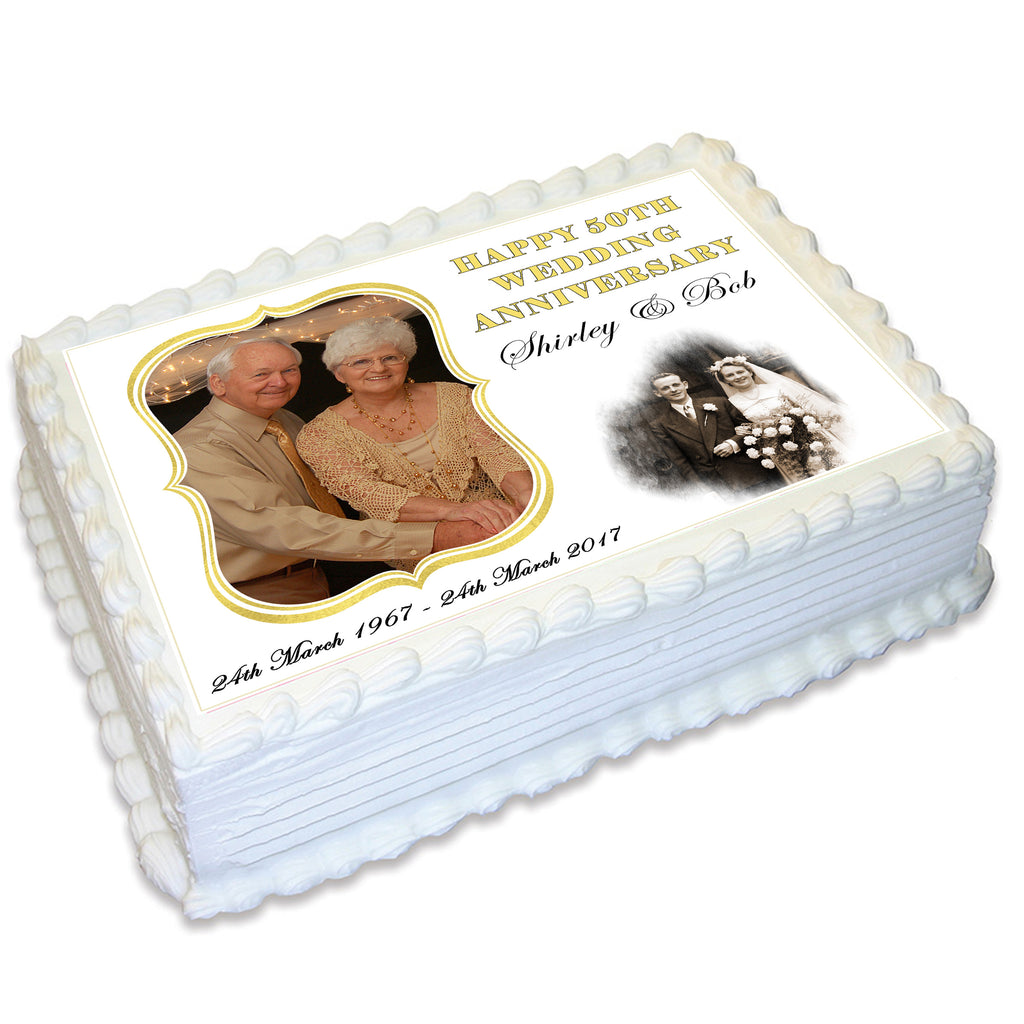 Anniversary Rectangle Edible Cake Topper with Photos