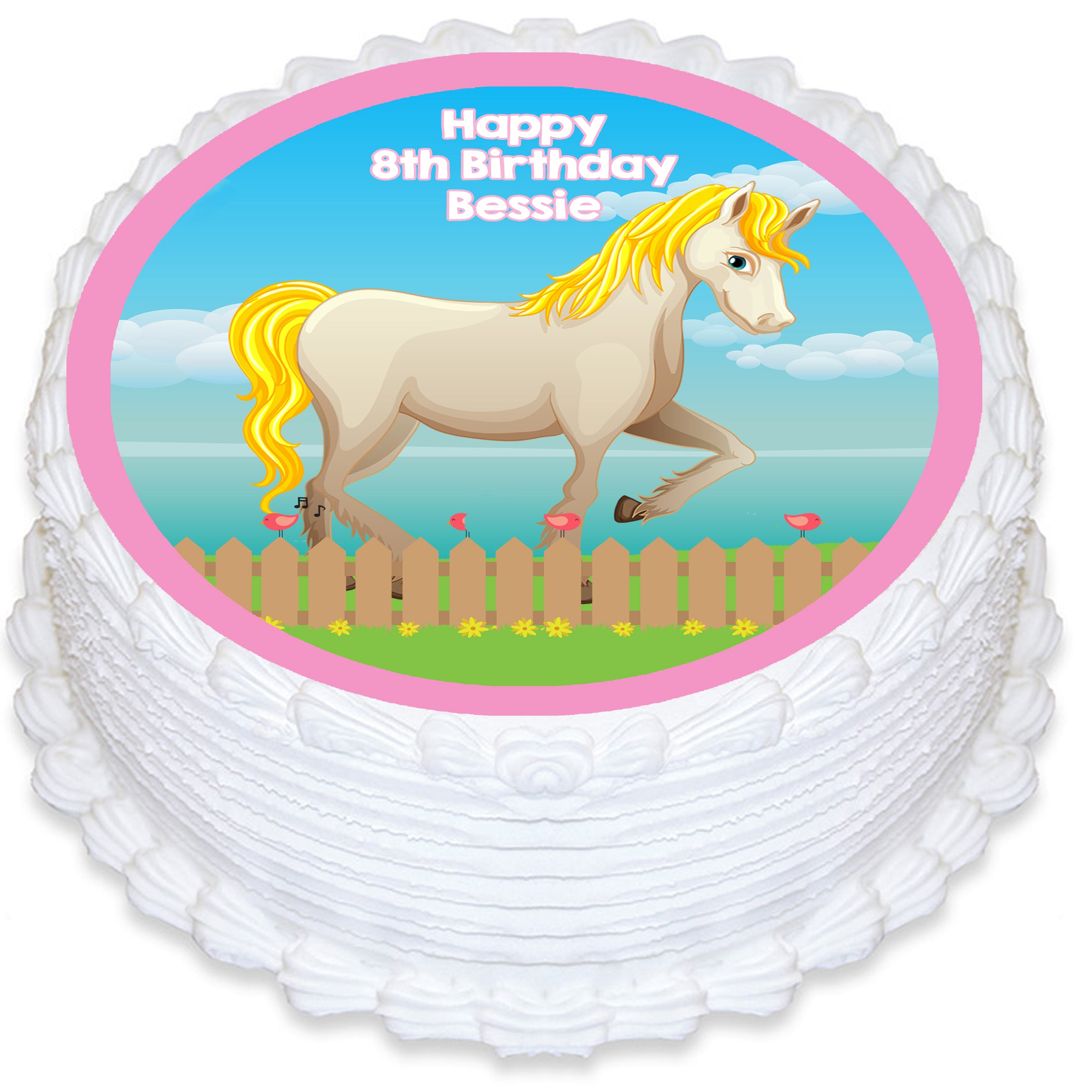 Horse Themed Round Edible Cake Topper Deezee Designs