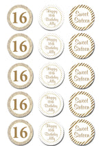 Sweet Sixteen Edible Cupcake Toppers