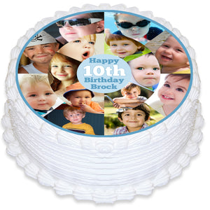 Photo Collage Round Edible Cake Topper