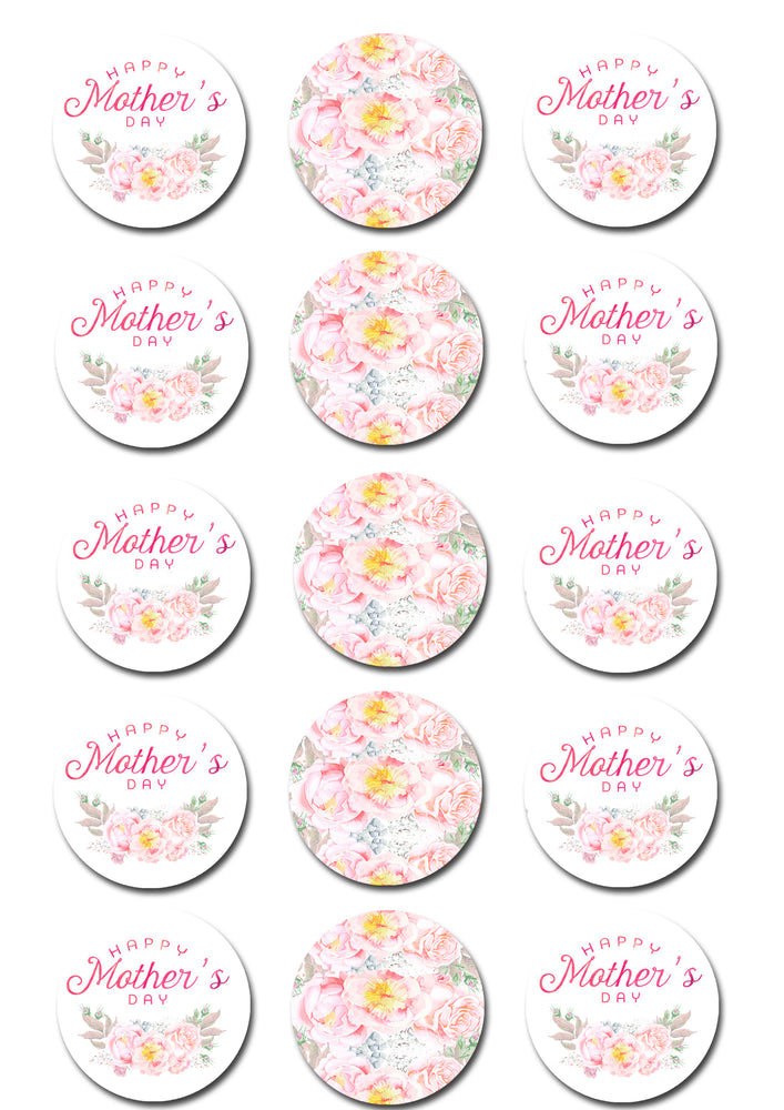 Mothers Day Edible Cupcake Toppers