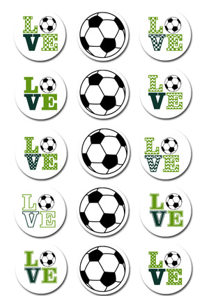 Soccer Themed Edible Cupcake Toppers