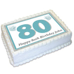 Number Age Rectangle Edible Icing Cake Topper