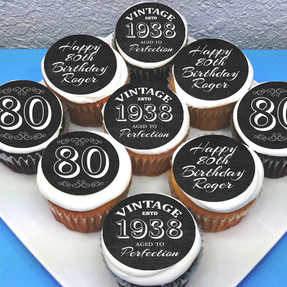 Birthday Themed Edible Cupcake Toppers