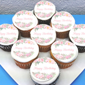 Floral Birthday Edible Cupcake Toppers
