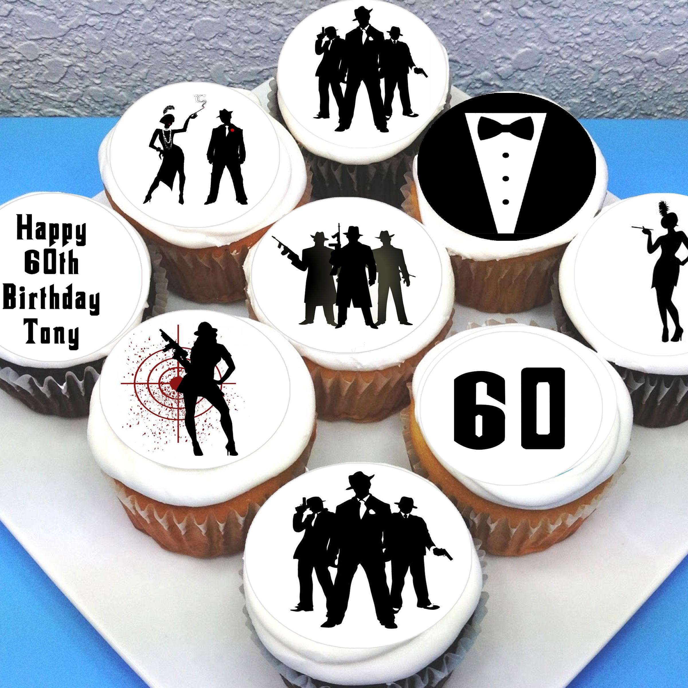 Gangsters Gals Themed Edible Cupcake Toppers Deezee Designs