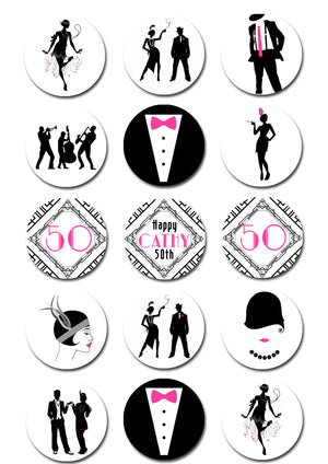 Gatsby Themed Edible Cupcake Toppers