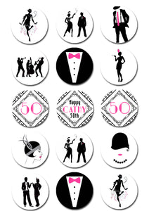 1920's Gatsby Themed Edible Cupcake Toppers