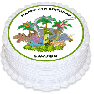 Dinosaurs Round Edible Cake Topper