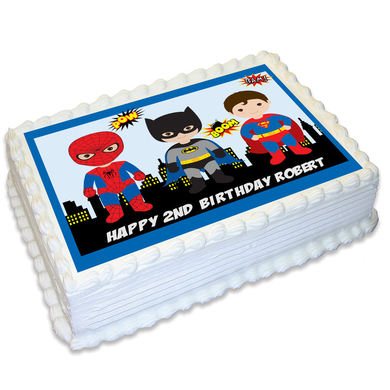 Superhero Boys A4 Edible Cake Topper