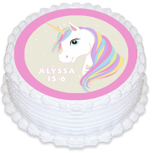 Unicorn Round Edible Cake Topper