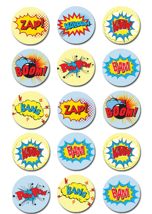 Superhero Burst Words Edible Cupcake Toppers