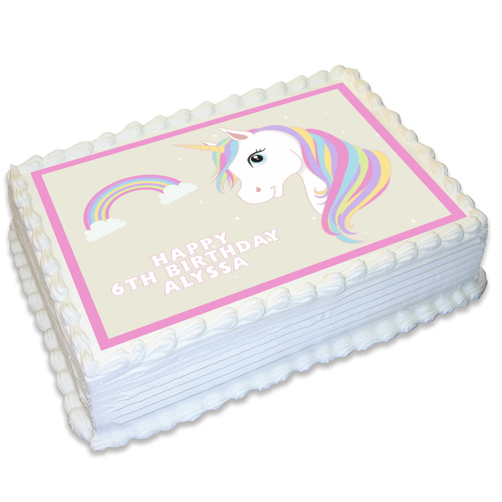 Unicorn Rectangle Edible Cake Topper
