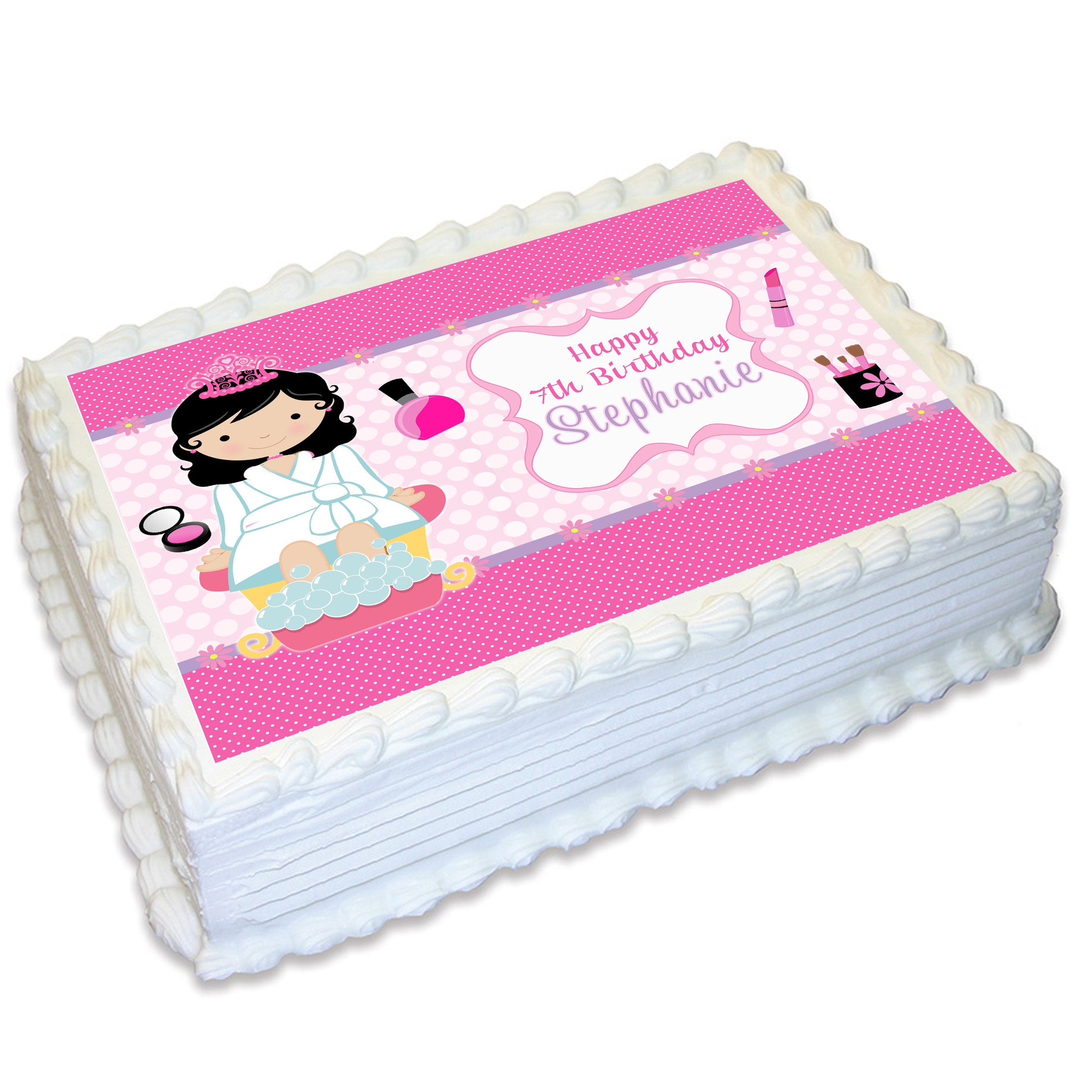 Wondrous Pamper Spa Party Rectangle Edible Cake Topper Deezee Designs Funny Birthday Cards Online Necthendildamsfinfo