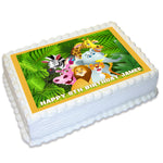 Jungle Animals Rectangle Edible Icing Cake Topper