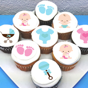 Baby Boy Baby Girl Edible Cupcake Toppers