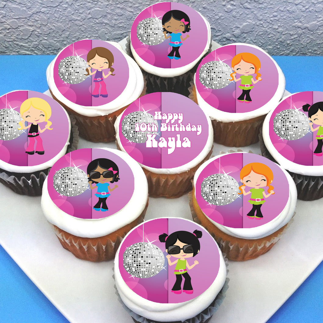 Disco Dance Edible Cupcake Toppers