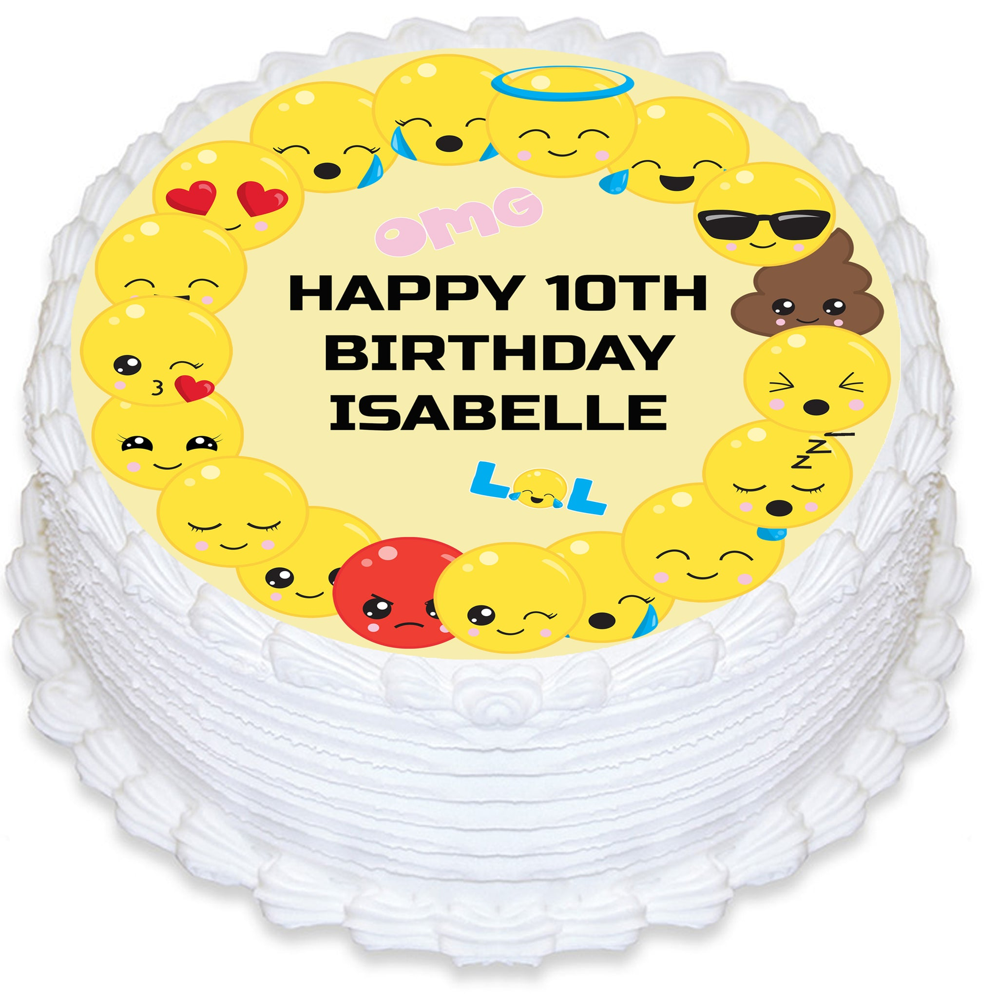 Emoji Themed Round Edible Cake Topper