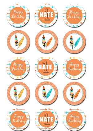 Tribal Themed Edible Cupcake Toppers