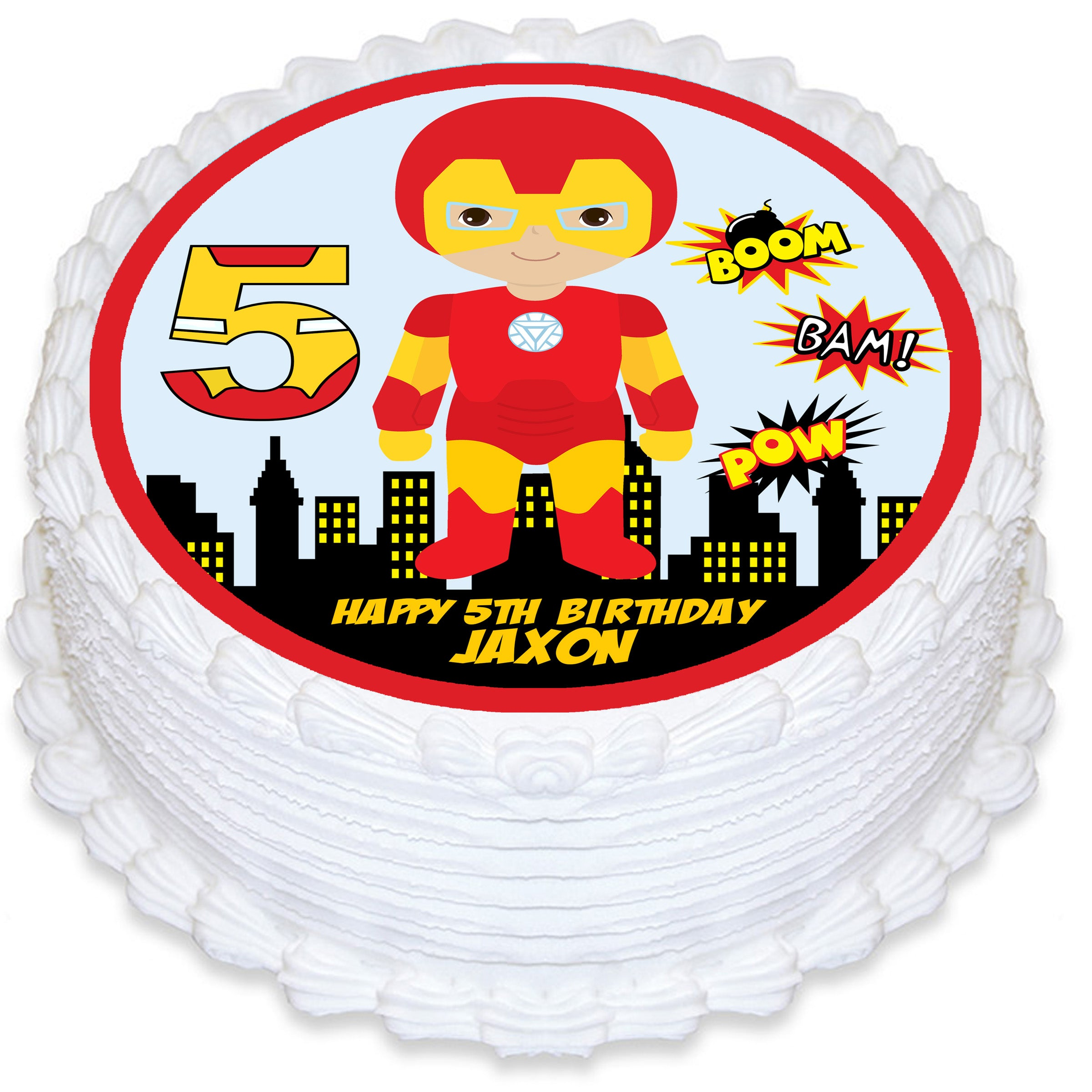Terrific Ironman Round Edible Cake Topper Deezee Designs Birthday Cards Printable Trancafe Filternl
