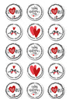 Valentines Day Edible Cupcake Toppers