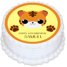 Cute Tiger Cub Round Edible Cake Topper