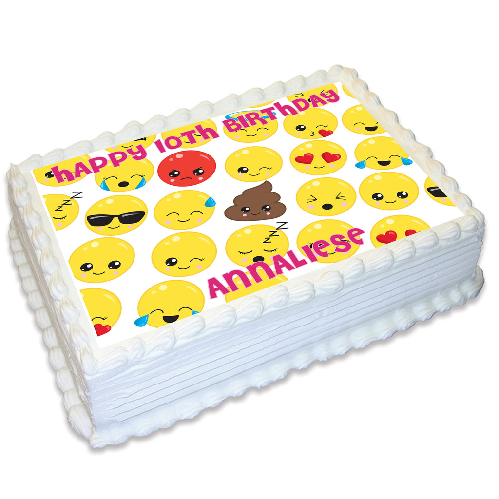 Emoji Themed A4 Edible Cake Topper