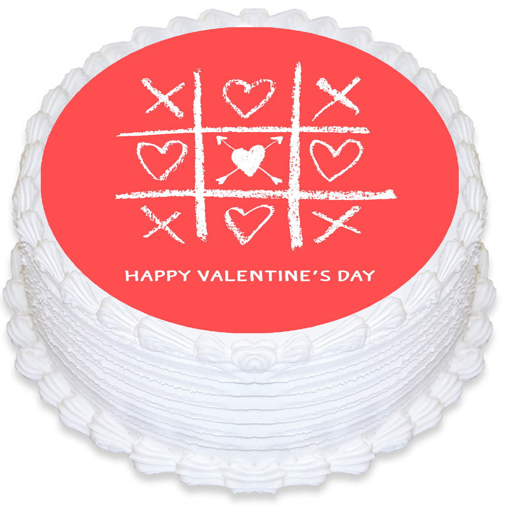 Valentines Day Love Round Edible Cake Topper