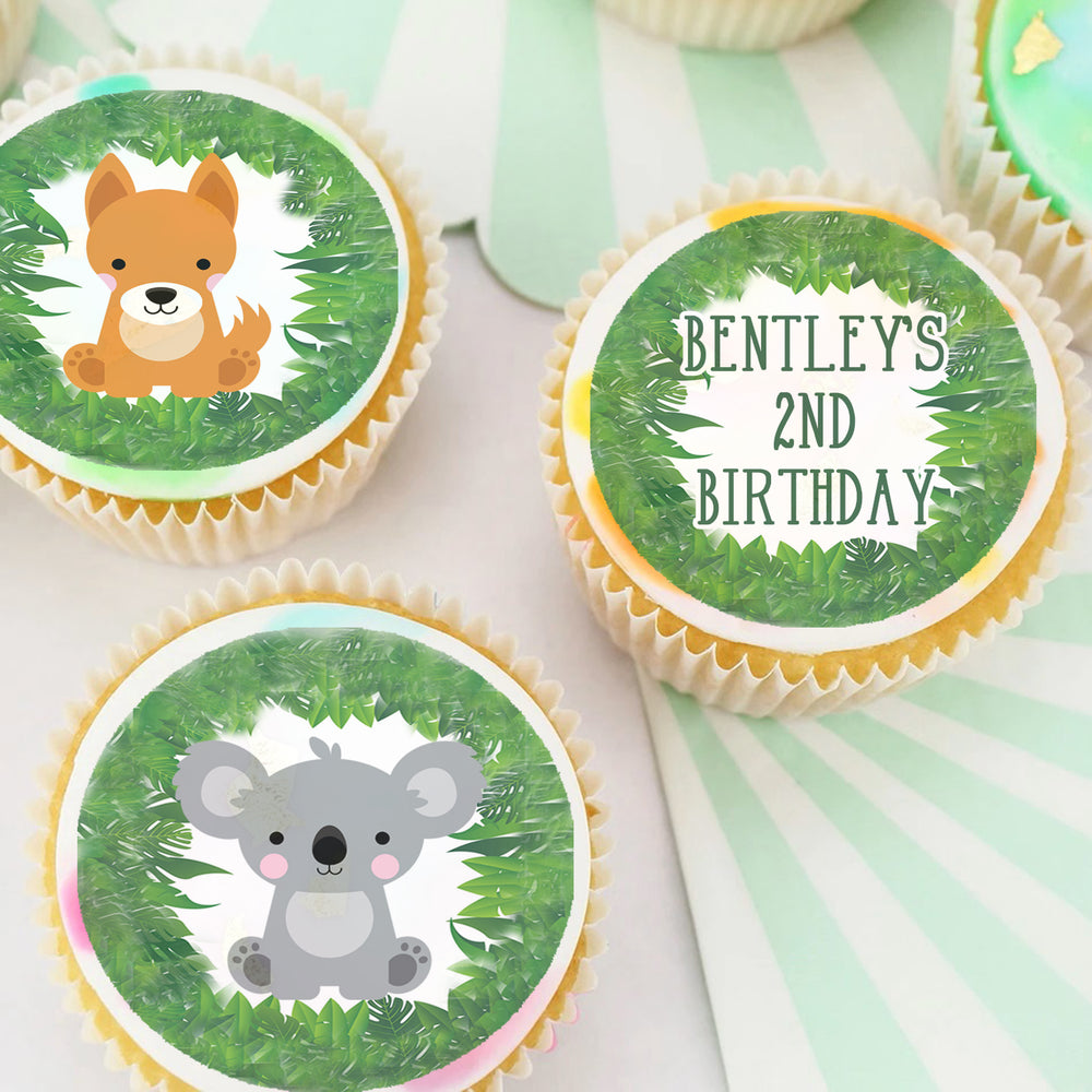 Australian Animals Pre-cut Edible Icing Cupcake or Cookie Toppers