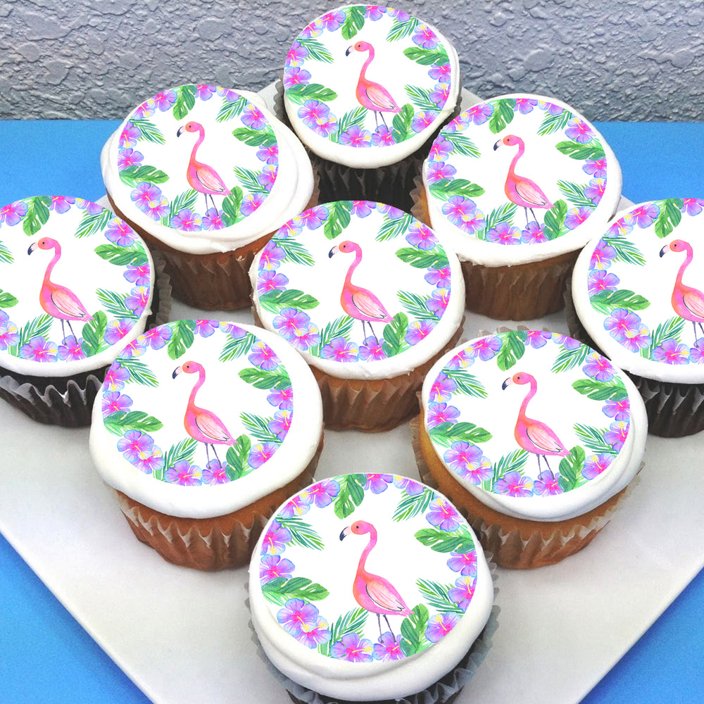 Tropical Flamingo Edible Icing Cupcake Toppers