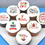 Christmas Xmas Edible Icing Cupcake or Cookie Toppers