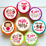 Valentines Day Love Pre-cut Edible Icing Cupcake or Cookie Toppers