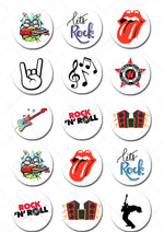 Rock & Roll Inspired Pre-cut Edible Icing Cupcake or Cookie Toppers