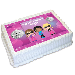 Disco Dance Rectangle Edible Icing Cake Topper