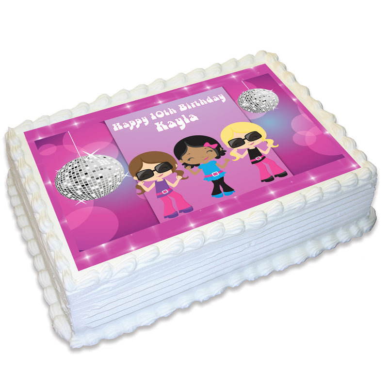 Disco Themed A4 Edible Cake Topper