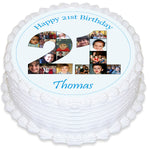 Photo Collage Round Edible Icing Cake Topper