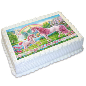 Unicorn Rectangle Edible Icing Cake Topper