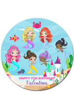 Mermaid Under the Sea Round Edible Icing Cake Topper