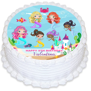 Mermaid Under the Sea Round Edible Cake Topper