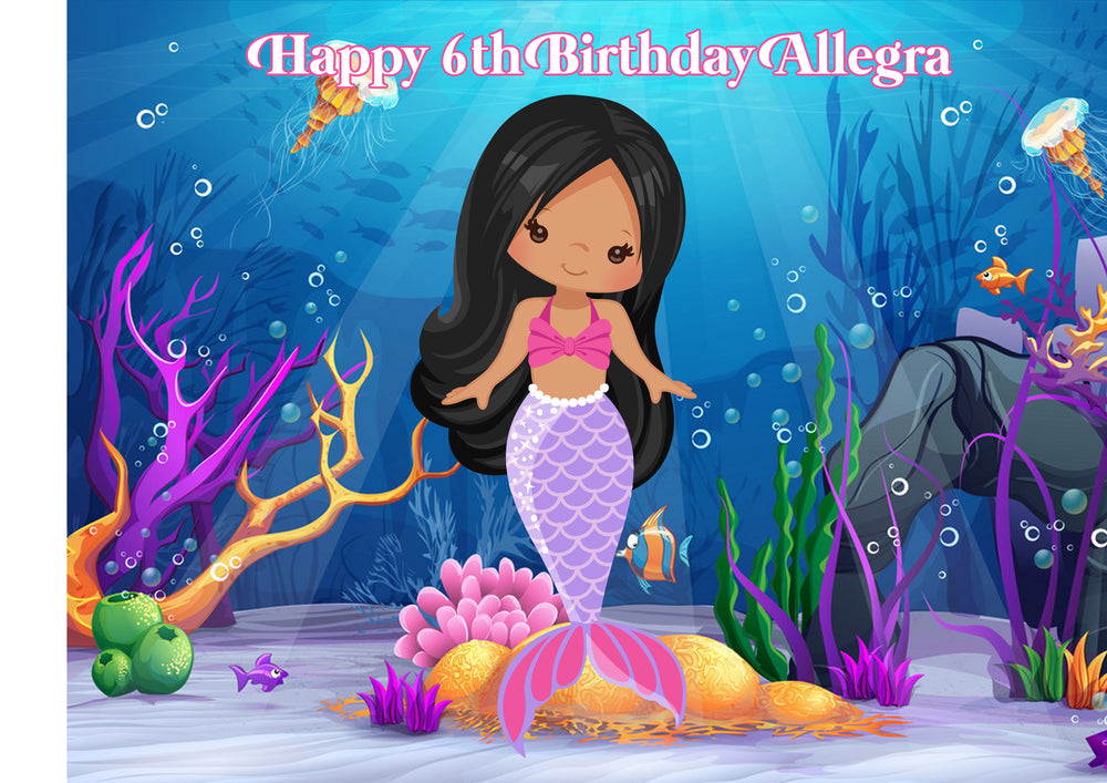 Mermaid Under The Sea Rectangle Edible Icing Cake Topper