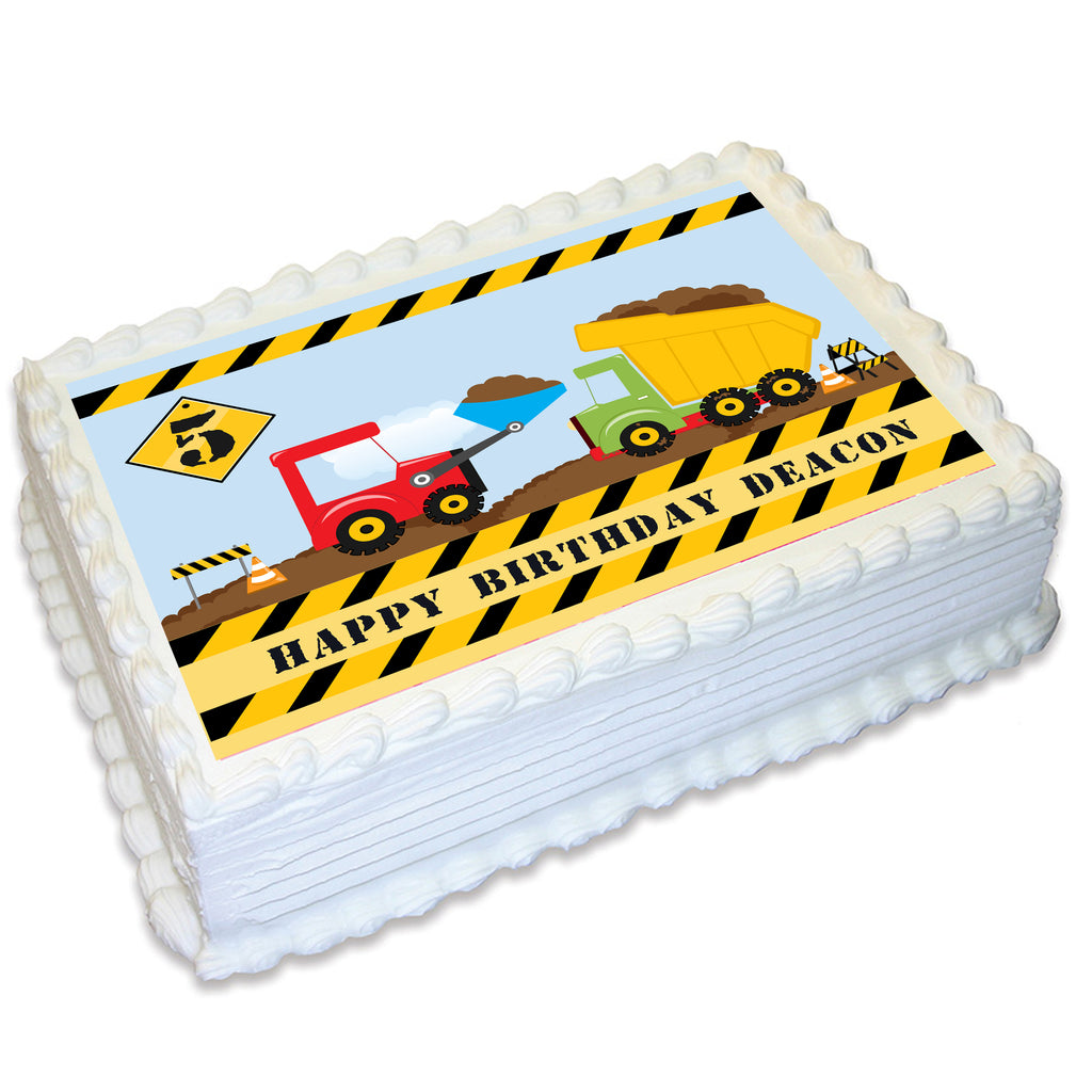 Construction Zone Rectangle Edible Cake Topper