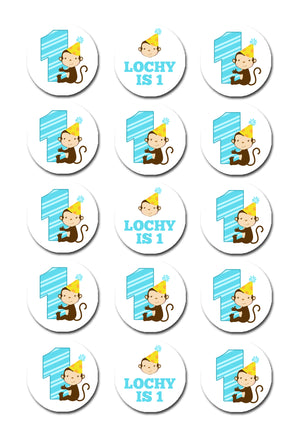 Monkey Themed Edible Cupcake Toppers