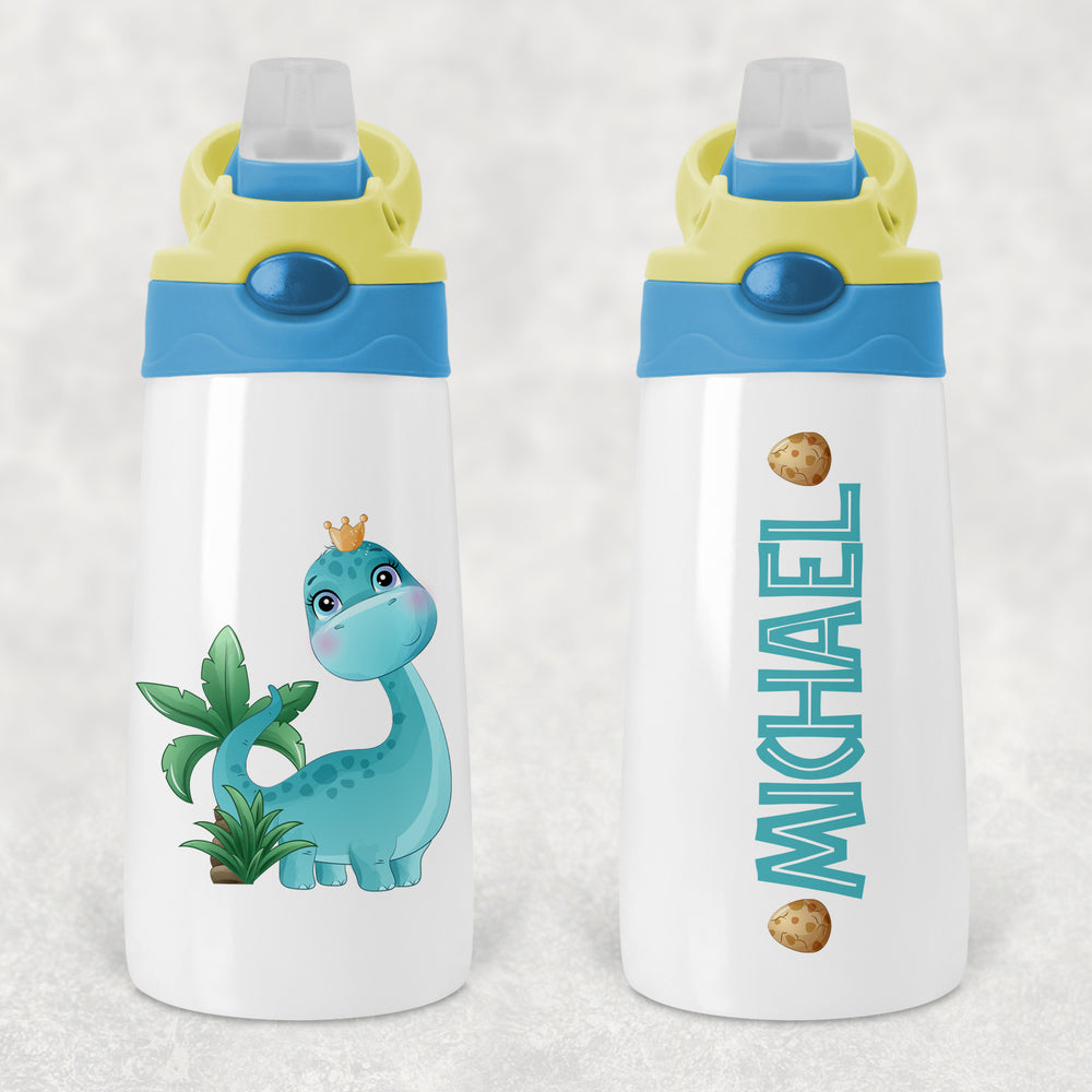 Dinosaur Dino Personalised Kids Sippy Flip Top Tumbler Bottle with Straw