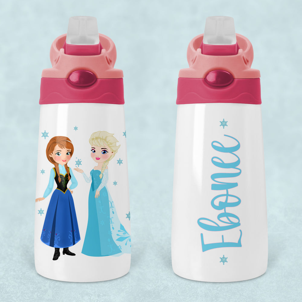Frozen Inspired Elsa Anna Personalised Kids Sippy Flip Top Tumbler Bottle with Straw