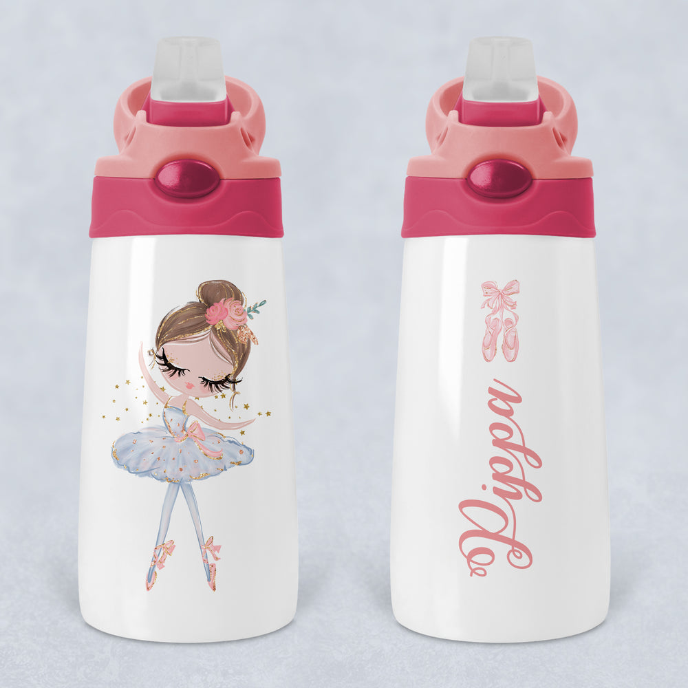 Ballerina Personalised Kids Sippy Flip Top Tumbler Bottle with Straw