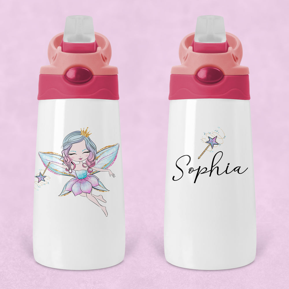 Fairy Princess Personalised Kids Sippy Flip Top Tumbler Bottle with Straw