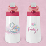 Unicorn Personalised Kids Sippy Flip Top Tumbler Bottle with Straw