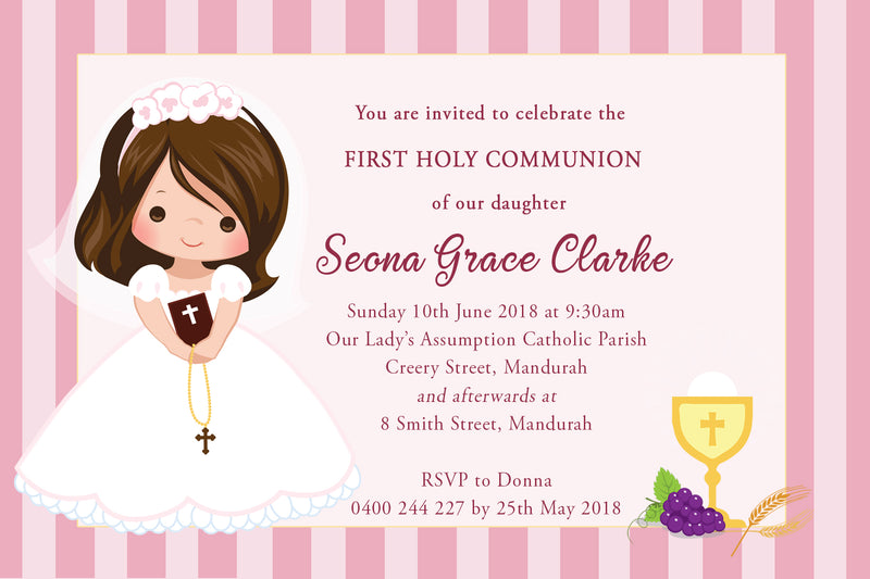 Seona - First Holy Communion Invitation