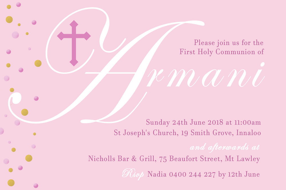 Armani - First Holy Communion Invitation